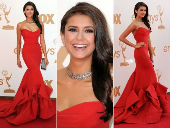 Red-Carpet-Nina-Dobrev-2011-Emmy-Awards-Mermaid-Sweetheart-Ruched-Satin-Celebrity-Dress-Evening-Dress-IWD2113